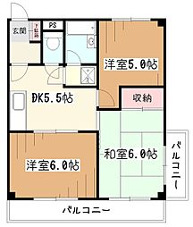 市川マンション[3階]の間取り