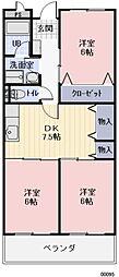 愛知県岩倉市大市場町順喜の賃貸アパートの間取り