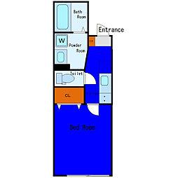 京急空港線 穴守稲荷駅 徒歩9分の賃貸アパート 1階1Kの間取り
