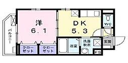 フェリチタ ドゥエ 1階1DKの間取り