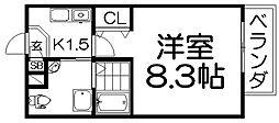 プラ・ディオ交野 8階1Kの間取り