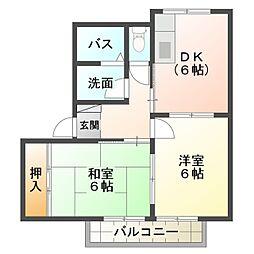 愛知県岡崎市真伝1丁目の賃貸アパートの間取り