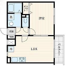 ヒルトップ武島 1階1LDKの間取り