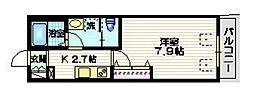 ハレクラニDAITA 2階1Kの間取り