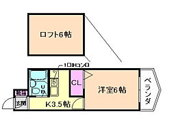 ZONE1/F PARTII[405号室]の間取り