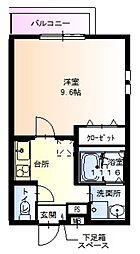 JR阪和線 鳳駅 徒歩8分の賃貸アパート 2階1Kの間取り