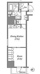 東京メトロ銀座線 上野駅 徒歩3分の賃貸マンション 14階1DKの間取り