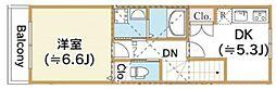 西武新宿線 武蔵関駅 徒歩17分の賃貸アパート 2階1DKの間取り