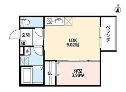 JR阪和線 南田辺駅 徒歩10分の賃貸アパート 3階1LDKの間取り
