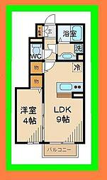 カイア 1階1LDKの間取り