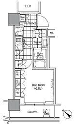 パークハビオ赤坂タワー 6階1Kの間取り