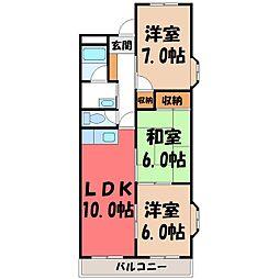 栃木県宇都宮市宿郷5丁目の賃貸マンションの間取り