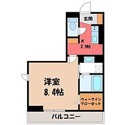 JR東北新幹線 宇都宮駅 バス53分 ゆいの杜6丁目下車 徒歩3分の賃貸アパート 2階ワンルームの間取り