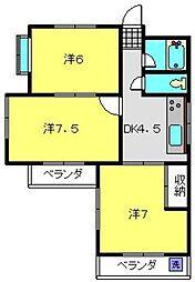 神奈川県横浜市南区若宮町2丁目の賃貸マンションの間取り