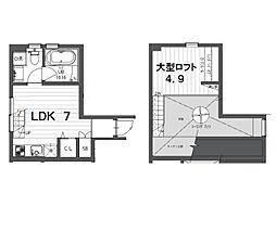 東急目黒線 武蔵小山駅 徒歩7分の賃貸テラスハウス 1階1LDKの間取り