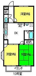 埼玉県さいたま市見沼区大字南中丸の賃貸マンションの間取り