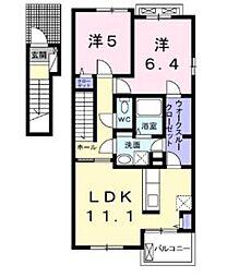 神奈川県厚木市中荻野の賃貸アパートの間取り