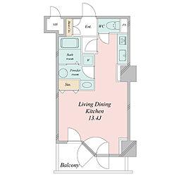 札幌市営東西線 大通駅 徒歩3分の賃貸マンション 16階ワンルームの間取り