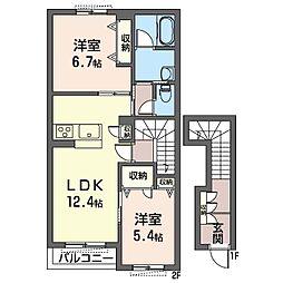 (仮)海老名市大谷南シャーメゾン 2階2LDKの間取り