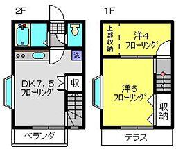 [テラスハウス] 神奈川県横浜市港南区日限山1丁目 の賃貸【/】の間取り
