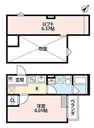 南海高野線 白鷺駅 徒歩13分の賃貸アパート 2階1Kの間取り
