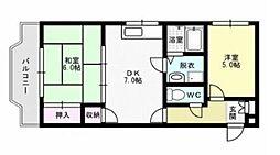 福岡県福岡市城南区長尾1丁目の賃貸マンションの間取り