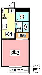 フォレスト庭瀬 A[102号室]の間取り