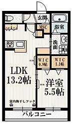 仮称 国領町5丁目メゾン 2階1LDKの間取り