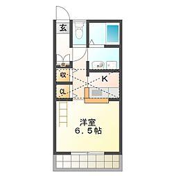 愛知県豊橋市神野新田町字ワノ割の賃貸アパートの間取り