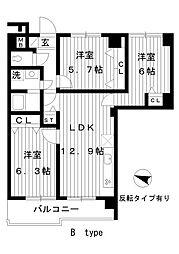東京都練馬区春日町4丁目の賃貸マンションの間取り