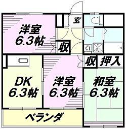 埼玉県所沢市上新井4丁目の賃貸マンションの間取り