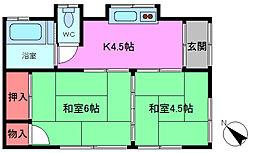 [一戸建] 千葉県市川市大和田4丁目 の賃貸【/】の間取り