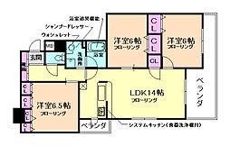 大阪府箕面市牧落3丁目の賃貸マンションの間取り