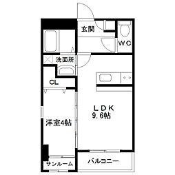 中間島新築マンション[205号室]の間取り