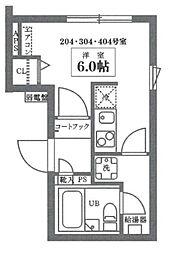 ココキューブ井草 3階ワンルームの間取り
