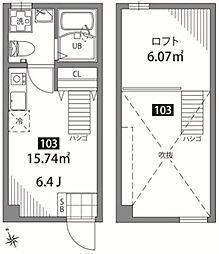 京王線 桜上水駅 徒歩4分の賃貸アパート 1階ワンルームの間取り