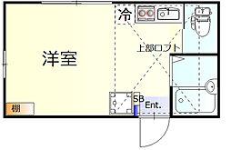 アイタル羽田 1階ワンルームの間取り
