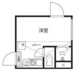 ノースヒル新宿ウエスト 地下1階ワンルームの間取り