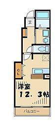 京王相模原線 多摩境駅 徒歩4分の賃貸アパート 1階ワンルームの間取り