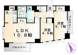 カスタリア北上野[14階]の間取り
