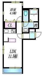 小田急小田原線 経堂駅 徒歩2分の賃貸マンション 2階1LDKの間取り