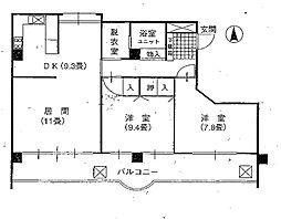 東京都世田谷区深沢8丁目の賃貸マンションの間取り