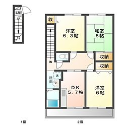 ハイステージ城屋敷 B[2階]の間取り