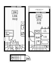 ミハス幡ヶ谷 2階1LDKの間取り