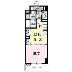 サンフィールド III 2階1DKの間取り