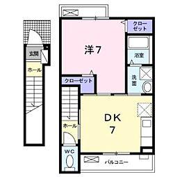 JR京浜東北・根岸線 西川口駅 徒歩12分の賃貸アパート 2階1DKの間取り