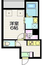 東京メトロ千代田線 町屋駅 徒歩8分の賃貸マンション 2階1Kの間取り