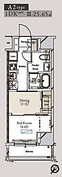都営大江戸線 月島駅 徒歩1分の賃貸マンション 4階1DKの間取り