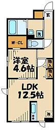 クローバーコート 2階1LDKの間取り