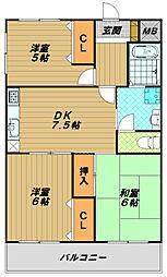 コーポ貴崎[5階]の間取り
